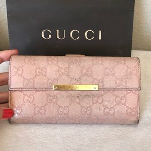GUCCI GG Guccissima Leather Long Wallet Clutch